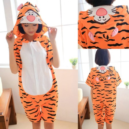 Tigger Pajamas Animal Onesie Hoodie Kigurumi Short Sleeve Costume