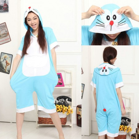 Doraemon Cat Pajamas Onesie Hoodie Kigurumi Short Sleeve Costume