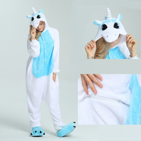 kigurumi blue Unicorn onesies animal pajamas for adults