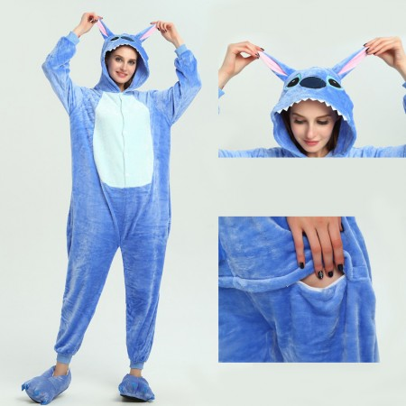 kigurumi blue Stitch onesies animal pajamas for adults