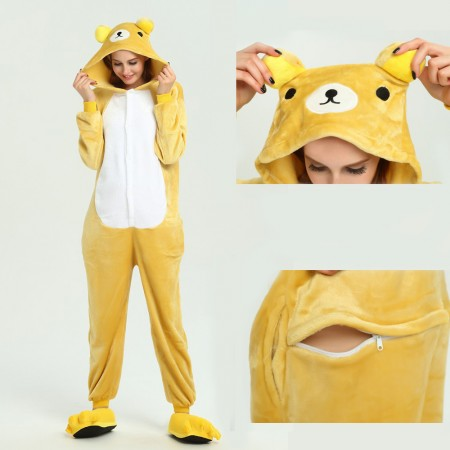 kigurumi yellow Bear onesies animal pajamas for adults