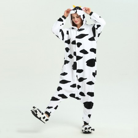 kigurumi black white Milk Cow onesies animal pajamas for adults