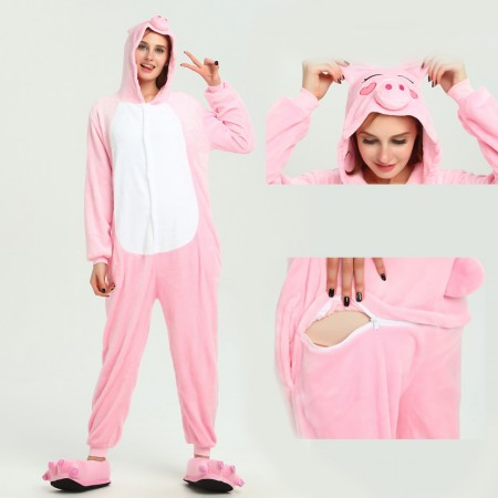 kigurumi pink Pig onesies animal pajamas for adults