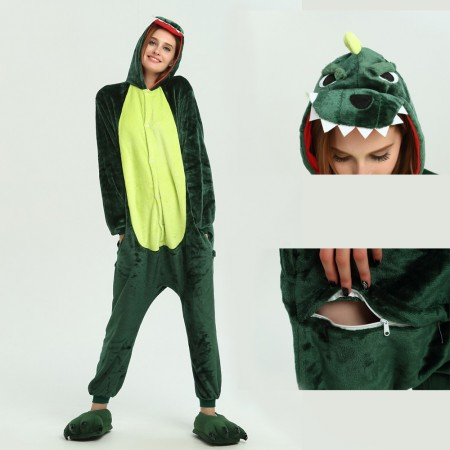 kigurumi green Dinosaur onesies animal pajamas for adults