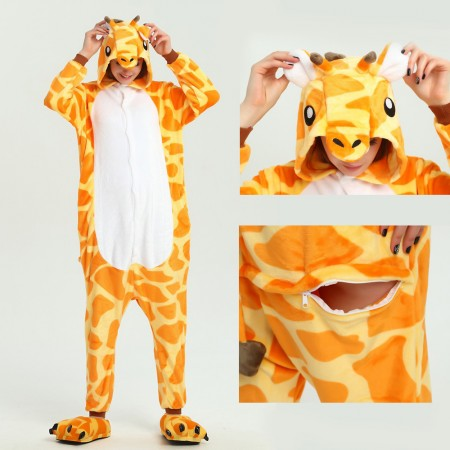 kigurumi yellow Giraffe onesies animal pajamas for adults