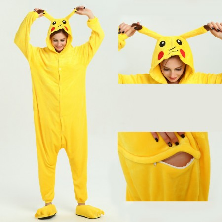 kigurumi yellow Pikachu onesies animal pajamas for adults
