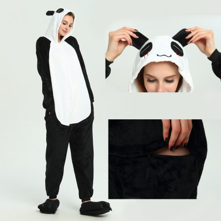 kigurumi black white Panda onesies animal pajamas for adults