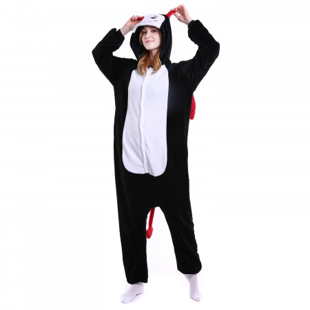 kigurumi black white Demon onesies animal pajamas for adults