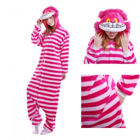 kigurumi pink red Cheshire Cat onesies animal pajamas for adults