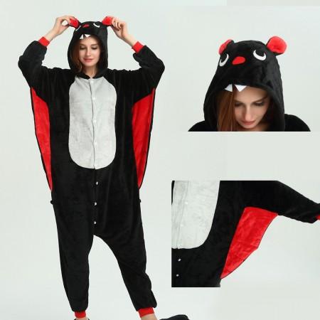 kigurumi black red Bat onesies animal pajamas for adults