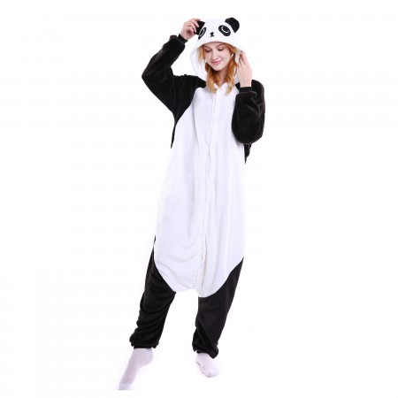 kigurumi black white Kungfu Panda onesies animal pajamas for adults